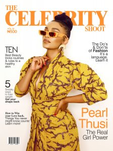 Pearl Thusi on the cover of The celebrity shoot magazine